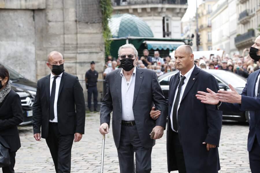 Alain Delon aux obsèques de Jean-Paul Belmondo
