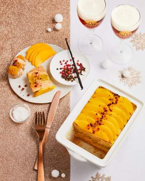 Terrine de foie gras aux mangues caramélisées, graines de vanille et poivre de Timut