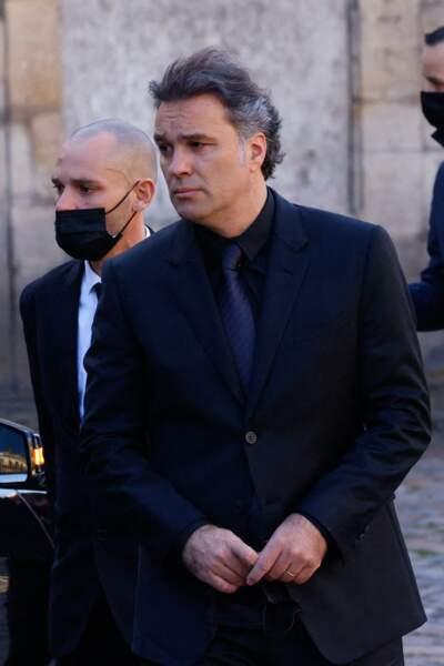 Arrivée de Laurent Tapie, le fils de Bernard Tapie, à la messe funéraire