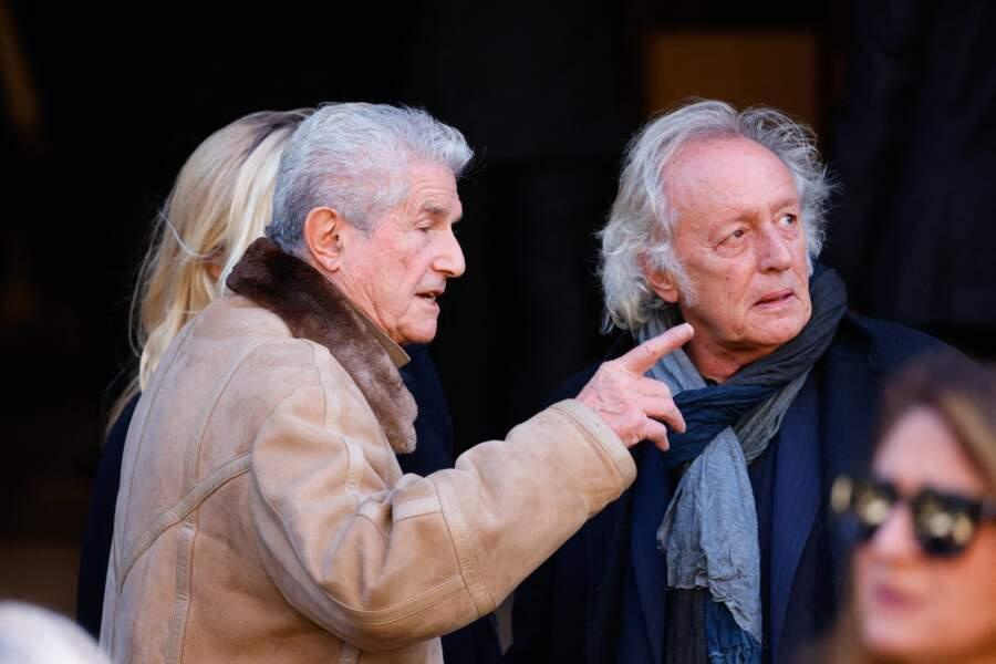 Arrivée de Claude Lelouch et Didier Barbelivien à la messe funéraire en hommage à Bernard Tapie