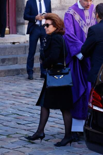 Arrivée de Dominique Tapie, la femme de Bernard Tapie, à la messe funéraire