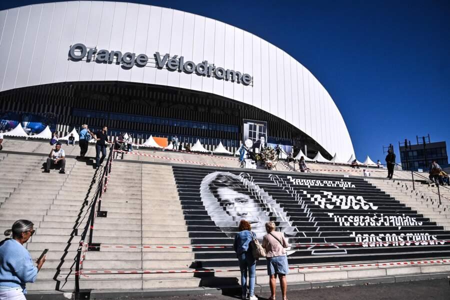 Hommage à Bernard Tapie au stade Vélodrome de Marseille, jeudi 7 octobre 2021