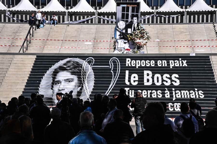 Hommage bouleversant à Bernard Tapie, au stade Vélodrome de Marseille, jeudi 7 octobre 2021