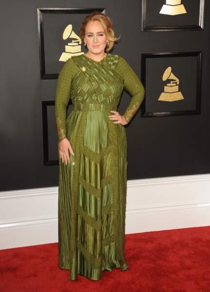 Adele lors des Grammy Awards en février 2017